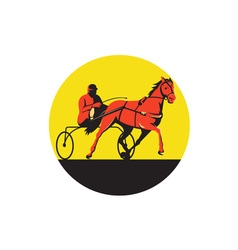 Horse and Jockey Harness Racing Circle Retro vector image vector image
