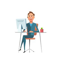 man working at computer vector image vector image