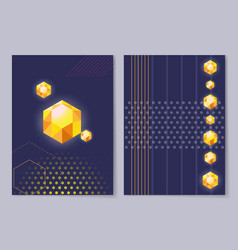 poster cover design with diamond golden crystals vector image vector image