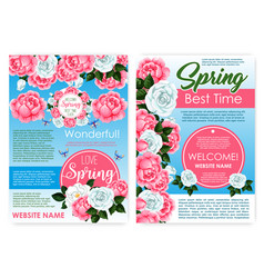 posters of flowers for spring holiday greetings vector image vector image