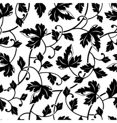 seamless abstract black leaves background isolated vector image