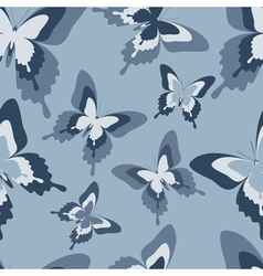 Seamless pattern with grey butterfly vector image vector image