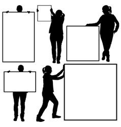 Women holding different signs vector image