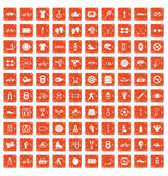 100 sport icons set grunge orange vector