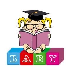 Baby girl with book vector