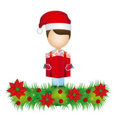 boy faceless with gift and wreath with christmas vector image vector image