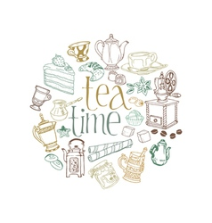 Card with Tea and Coffee Doodles vector image
