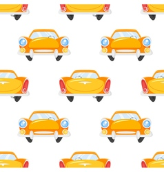 flat style seamless pattern of retro yellow car vector image