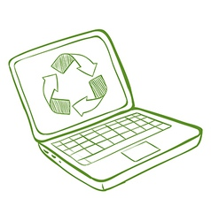 A laptop with a recycle symbol vector image