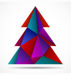 Abstract colorful christmas tree of triangles vector