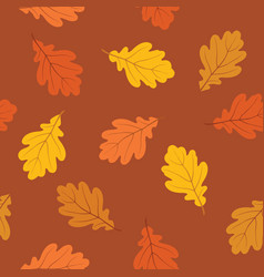 autumn leaves seamless pattern fall nature oak vector image