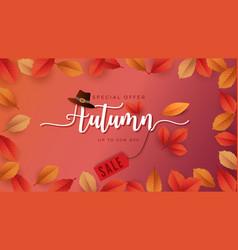 Autumn season background for sale promotion vector