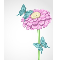 Background for greeting card with flower and butte vector
