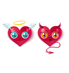 Bad and good hearts vector