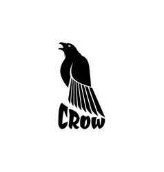 Black crow logo on a white background raven vector