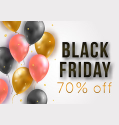 Black friday sale poster with shiny balloons and vector
