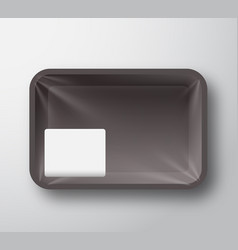black plastic food tray container with transparent vector image