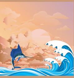 Blue marlin fish at dawn vector