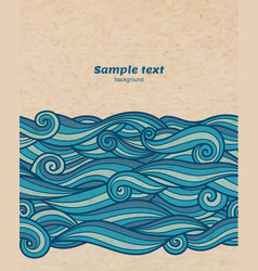Blue waves pattern on cardboard background vector