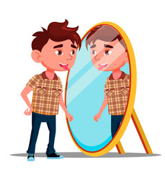 boy shows tongue in his reflection in the mirror vector image