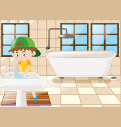 Boy washing hands in toilet vector
