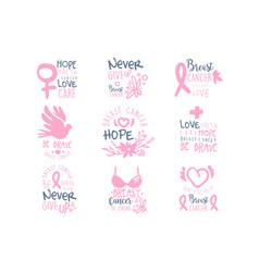 Breast cancer fund collection of colorful promo vector