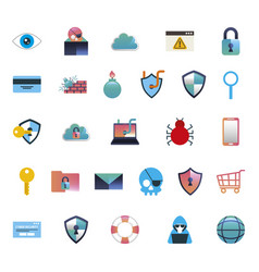 Bundle cyber security colorful set icons vector