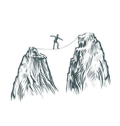 Businessman goes on a tightrope in the mountains vector