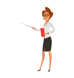Businesswoman with folder and pointer stick vector