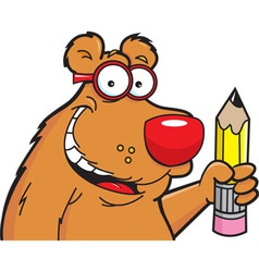 Cartoon Bear with a Pencil vector image
