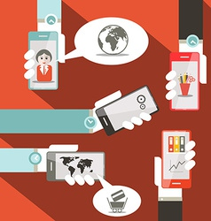 Cell Phones in Hands vector image