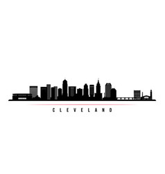 cleveland city skyline horizontal banner vector image