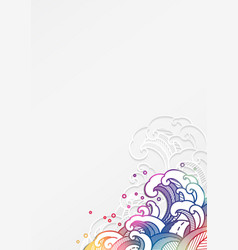 Colorful oriental water wave in paper cut style vector