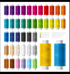 Colorful spools thread and needles for sewing vector
