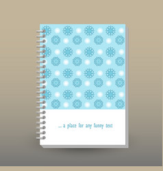 Cover of diary or notebook snowflakes pattern vector