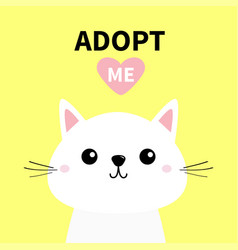 Cute cat face line silhouette adopt me pink heart vector