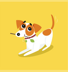 cute jack russell terrier running with stick vector image