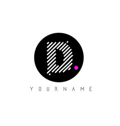 D letter logo design with white lines and black vector