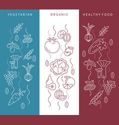Digital blue red vegetable icons set vector