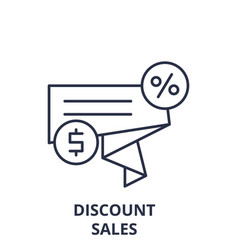 discount sales line icon concept discount sales vector image
