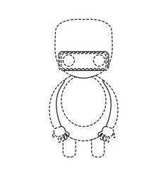 dotted line cute robot toy icon vector image