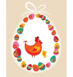 Easter frame hen vector image