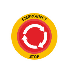 Emergency stop button red warning press button vector
