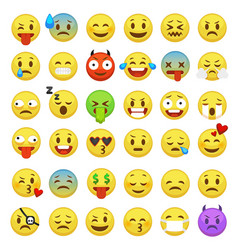 Emoticons set emoji faces emoticon smile funny vector