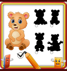 find the correct shadow baby bear shadow matching vector image