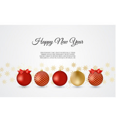 gold and red decorative christmas balls new year vector image