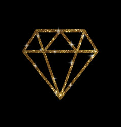 Golden glitter of flat diamond icon vector