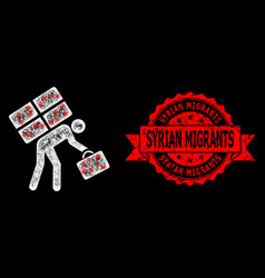 Grunge syrian migrants stamp and bright polygonal vector
