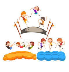 happy kids jumping on trampoline cute boys having vector image
