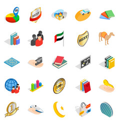 happy team icons set isometric style vector image